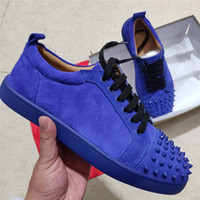 Wholesale sneakers spikes for women for sale - Group buy 2019 Designer Sneakers Red Bottom Low Cut Spikes Flats Shoes For Men Women Leather Sneakers Casual Shoes With Dust Bag