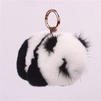 llavero joyas conejo al por mayor-Rex Rabbit Fur Panda Keychain Mink Panda Jewelry Plush Fur Bag Colgante Colgante Llavero de lujo Pom Pom Llaveros Regalos para hombres