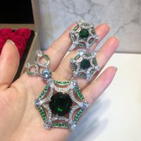 ingrosso orecchini di smeraldo della collana-Set di gioielli di lusso esclusivo Lady Emerald Green Zircone Full Diamond 18K placcato oro collane e orecchini 1 Set