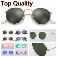 negro redondo marrón al por mayor-Gafas de sol redondas de metal modelo gafas de vidrio de calidad superior UV400 para hombres, mujeres, paños de cuero marrón o negro y todos los accesorios