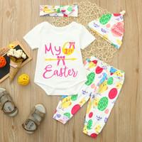 unisex kurzes haar großhandel-Infant Baby Short Sleeve Ostern Cartoon Brief gedruckt Lace + Ei Huhn gedruckt Pants + Hat Hair Strap Set MEIN 1. Ostern