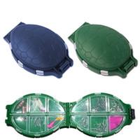 пластиковый крюк оптовых-12 Compartments Tortoise Shape Green/Blue Plastic Turtle Fishing Lure Hooks Storage Tackle Case Box Pocket