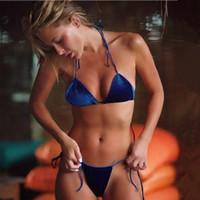 c865ebf5e2 2019 Burgund Blau Damen Badeanzug Velvet Bikinis Set Strap Badeanzüge  Halter Thong Beach Bademode Brasilianischer Bikini FS1472