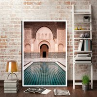 Wholesale famous modern abstract art resale online - Morocco Door Vintage Poster World Famous Architecture Art Picture Printed Modern Home Living Room Canvas Painting Decoration Art