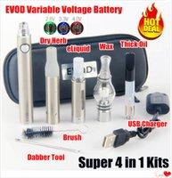ingrosso cartuccia calda-Il più caldo vaporizzatore eVod VV 4 in 1 Kit olio spesso EVOD Batteria a preriscaldamento a tensione variabile EVOD Cartucce 510 vaporizzatori per erba secca penne per pennarelli