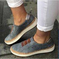 zapatos de vestir dropship al por mayor-Mujeres de la manera Alpargatas Slip-en los holgazanes de los zapatos de plataforma de piel cómodo diseñador Plate-forme Walking Zapatos de vestir US10.5 Dropship