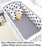 Wholesale baby boy cot bedding sets resale online - Promotion Cartoon baby bedding set baby boy sports crib bedding sets Cot Crib blanket whole set cm