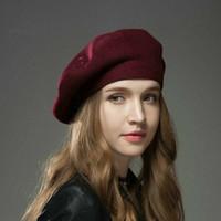 boina elegante al por mayor-Boinas cálidas de lana de otoño e invierno Boinas elegantes del pintor de la moda de la señora