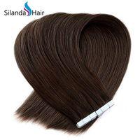 beste haarpackungen großhandel-Bester Verkauf Brown # 4 gerade volle Häutchen 100% Remy Haar-Band-Haar-Verlängerungen 20 PC / pack Freies Verschiffen