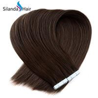 melhores extensões de cabelo remy fita venda por atacado-Silanda cabelo best selling brown # 4 em linha reta completa cutícula 100% remy hair tape em extensões do cabelo 20 unidades / pacote frete grátis