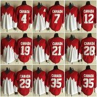 freundschaftsspiel fußball großhandel-Team Canada Jersey NHL 12 29 19 7 4 35 21 28 Rot-weiß gesteppte Eishockey-Trikots