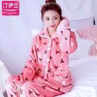 lange fleece nightgown frauen großhandel-Verdickung Frauen Winter Flanell Pyjama Korallen Fleece Pyjama setzt Nachtwäsche Samt Langarm lässig Nachthemd