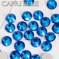 mavi düzeltme toptan satış-Capri Mavi SS3-SS30 için tüm boyutları 3D Nail Art Rhinestones DIY dekorları manikür tasarım Olmayan sıcak fix kristaller pırılt ...