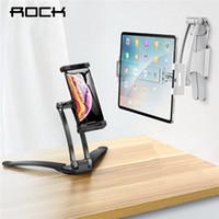 дюймовый планшетный телефон оптовых-Регулируемый планшет держатель телефона ROCK для iPad 2 3 4 Air Mini Pro для iPhone 360 градусов Roating Desktop Stand для 5-10.5 дюймов