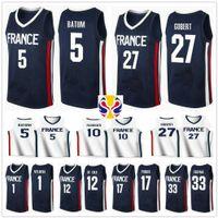 2019 World Cup Team France Basketball Jersey Frank Ntilikina 1 Nicolas Batum 5 Rudy Gobert 27 Evan Fournier 10 Nando De Cole 12 Amath Mbaye