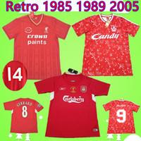 camiseta de fútbol 85 al por mayor-Liverpool soccer jersey LFC  Paul Walsh 1985 1986 RETRO 2005 2006 Gerrard Cisse Crouch Morientes camisetas de fútbol 85 86 05 06 camisetas de fútbol clásico conmemorar antigüedad