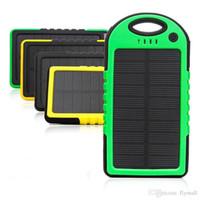 kamera güneş paneli toptan satış-Evrensel 5000 mAh Güneş Şarj Su Geçirmez Güneş Paneli Akü Şarj Telefon iphone7 8 Tablet Kamera için Mobil Güç Bankası Çift USB