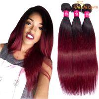 buntes reines brasilianisches haar großhandel-Brazilian Ombre Burgund Glattes Haar 3 Bundles 1B 99j Brazilian Red Virgin Haarwebart Farbige Ombre Echthaarverlängerungen