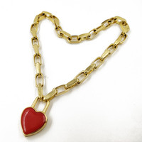 Wholesale enamel choker necklaces for sale - Group buy New Women Vintage Red enamel Heart choker neklace Fashion metal Chain Pendant necklace Gold Punk jewelry Femme Colliers