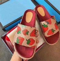 booties sandale schuhe groihandel-Art und Weise Frauen Dia-Original Sandale Designer Platform Slipper aus echtem Leder Leinwand Erdbeere Beige Booties Strand Slipper Outdoor-Schuhe