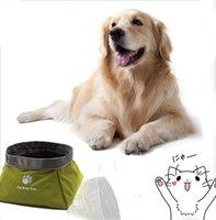 hunde schüssel hoch großhandel-Neue Entwurfs-Qualitäts-wasserdichte zusammenklappbare Haustier-Hundenapf-rutschfeste bewegliche Reise-Haustier-Schüssel Freies Einkaufen