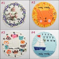 Wholesale round baby blanket for sale - Group buy INS Baby Milestone Round Blanket Animal Photography Background Props Blankets Infant Swaddling Flower Number Letter Newborn Kids Wraps cm