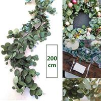 ingrosso fogliame di seta artificiale-Falso 2m artificiale Eucalyptus Garland seta lunghe Eucalyptus Leaf Piante verdi Wedding Backdrop Fogliame Arco della decorazione della parete
