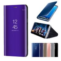 akıllı ayna kutuları toptan satış-Akıllı Ayna Telefon Kılıfı Için Samsung Galaxy Not 10 Artı S10 Artı 5G S10E S9 S8 Not 9 8 A10 A30 A40 A20E A70 A50 A50 A80 Temizle Görünüm Flip Kapak