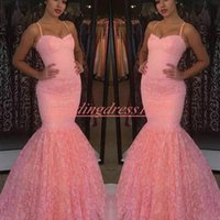 Wholesale special occasion dresses online - Modest Full Lace Mermaid Evening Dresses Sleeveles Spaghetti Straps African Plus Size Special Occasion Pageant Gowns Prom Dress Party Formal