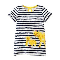 Wholesale kids girl clothes china resale online - Flower summer dresses for girls years christmas costumes for kids Short sleeve striped girl clothes dresses baby clothing Made In China