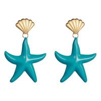 Wholesale threading earrings resale online - Drop Earrings for women new fashion Luxury starfish fashion personality Thread Dripping Dangle earrings geometric Jewelry