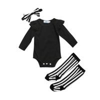 Wholesale christmas long socks resale online - Newborn Infant Baby Girl Clothes Sets Cotton Bodysuit Tops Long Sleeve Socks Leg Warmer Clothes Striped Clothing