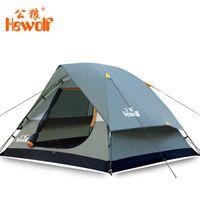 ingrosso tenda all'aperto di hewolf-Hewolf tenda turistica 3 - tende da campeggio per 4 persone Caccia esterna impermeabile a doppio strato Tende da spiaggia Gazebo da giardino