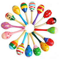 Wholesale hammered toy resale online - Kids Toys Wooden Maracas Baby Child Musical Instrument Rattle Maracas Cabasa Sand Hammer Orff Instrument Baby Toy GGA2617