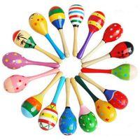 ahşap oyuncaklar toptan satış-Çocuk Oyuncakları Ahşap Maracas Bebek Çocuk Enstrüman Çıngırak Maracas Cabasa Kum Çekiç Orff Enstrüman Bebek Oyuncak GGA2617