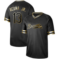 2ea3a8eb4 Wholesale dale murphy jersey online - Mens Atlanta Black Gold Ronald Acuna  Jr Dale Murphy Deion