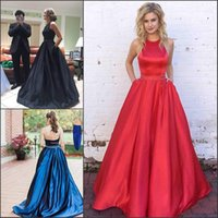 Wholesale red black long evening gown for sale - Simple Desginer Halter Prom Dresses With Pockets Satin Beads Sash Long Cheap Party Gowns Vestido de fiesta Formal Evening Wear