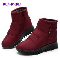 botas de nieve de corte bajo al por mayor-botas para la nieve mujer 2018 nuevo invierno antideslizante zapatos calientes mujer del tobillo de corte bajo las botas de algodón de invierno Snow Brand x557