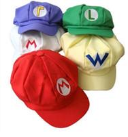boinas rojas para al por mayor-Super Mario Hat Anime Cosplay Tools Red Cap Tag Super Mario Cartoon Visor Beret 5 Color HHA765