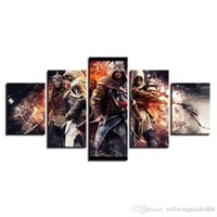 Wholesale multi picture digital frame for sale - Group buy 5 Combinations HD Assassin s Creed Hero warriors soldier Framed Canvas Painting Wall Decoration Printed Oil Painting poster