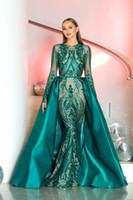 vestidos farbe koralle großhandel-Luxuriöse 2019 wunderschöne Juwel Meerjungfrau Abendkleider Pailletten Abnehmbare Zug Abendkleid Festzug Kleider Maßgeschneiderte Abendkleider