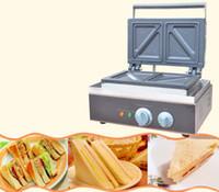 elektrische waffeleisen großhandel-110v 220v Gewerbe Sandwich-Maschine Sandwich Maker Frühstück Maker Maschine Brot Toaster Elektrische Küchengeräte Waffeleisen