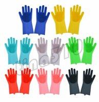 ingrosso guanti puliti in lattice-New Magic Washing Gloves Guanto in silicone Resuable Guanto per la pulizia della casa Anti Scald Dishwashing Glove Utensili per la pulizia della cucina I498
