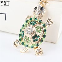 Wholesale turtle purses resale online - Green Tortoise Turtle Pendant Charm Rhinestone Crystal Purse Bag Keyring Key Chain Accessories Wedding Friend Lover Gift