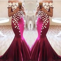 Wholesale sexy long two piece prom dress resale online - Exquisite Flora Appliqued Mermaid Prom Dresses Elegant Off Shoulders Fuchsia Long Train Evening Gowns Arabic Party Celebrity Gowns