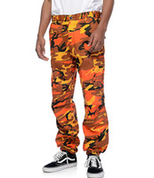 pantalon bouffant orange achat en gros de-Couleur Camo Cargo Pants Pantalon Homme Baggy Tactical Pantalon Hip Hop Casual Coton Multi Pochettes Pantalon Streetwear