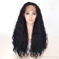 peruk tam kıvırcık toptan satış-Siyah Dantel Ön Sentetik Dantel Ön Peruk Gevşek Kıvırmak Saç Dantel ön Peruk Bebek Saç ile Isıya Dayanıklı Fiber Kadınlar için Tam Peruk