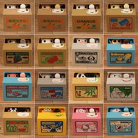 banka para kasası toptan satış-Kumbara Panda Bambu Otomatik Çaldı Para Panda kedi Otomatik Çalmak Para Para Tasarrufu Kutusu Kumbara çocuklar için