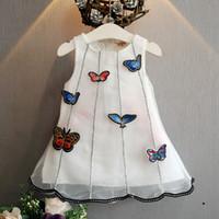 üç sevimli kız bebek toptan satış-Yaz Bebek Kız Elbise Rahat Sevimli Üç Boyutlu Bez Çıkartmalar Kelebek Prenses Elbise Bebek Kız Giysileri Çocuklar Kızlar Için Elbise