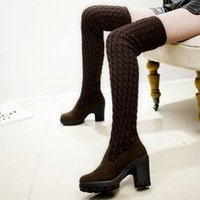 Wholesale woolen boots resale online - New mid heel woolen boots in winter are thinner than knees and thicker than warm boots